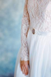 Легкое свадебное платье с телесным корсажем Орион от Миламира