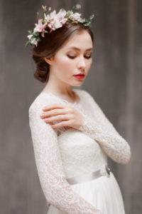 Кружевное свадебное платье цвета айвори Руфина (Миламира)