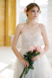 Очаровательное свадебное платье А-силуэта с корсажем с чашечками Aya от Миламира